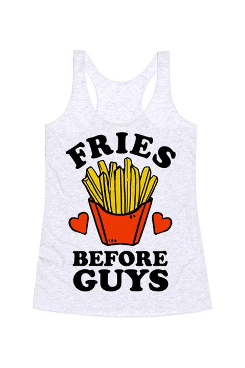Fries Before Guys racerback tank, $19.99, Look Human