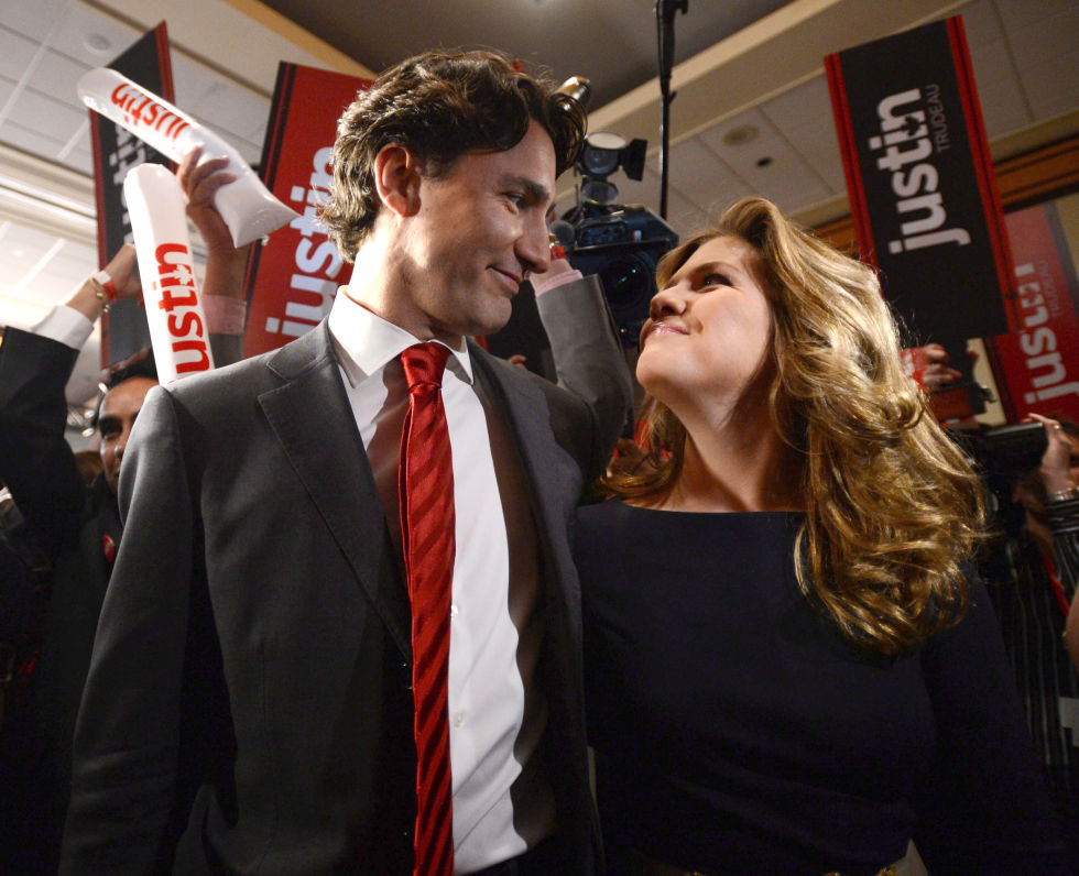 Sharing a moment at the Federal Liberal leadership announcement in Ottawa, Canada