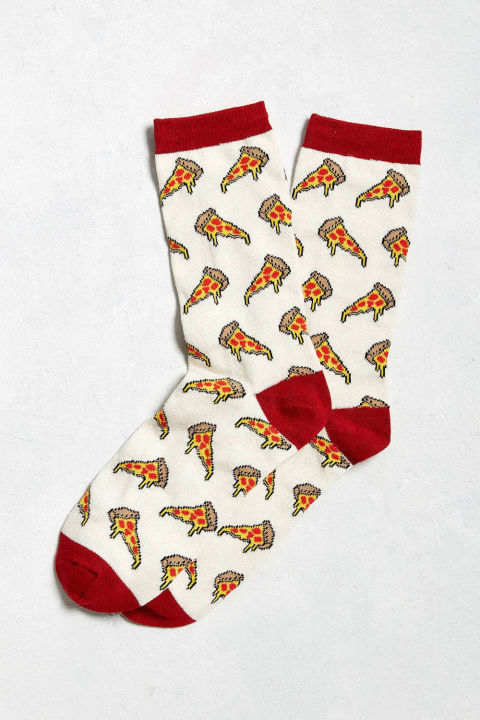 Fact #1: everyone loves pizza. Fact #2: cute socks are never a bad idea. Combine the two for a slam-dunk gift.  Pizza Socks, $8, Urban Outfitters