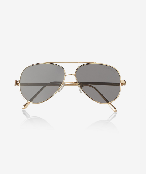 You can never go wrong with a pair of classic aviators.  Flat Lens Aviator Sunglasses, $30, Express