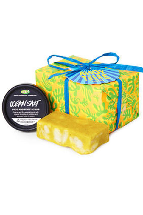 Yummy bath treats will keep bae smelling fresh.  Ahoy There! Wrapped Gift, $20, Lush