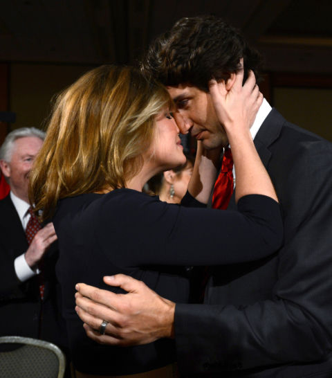 A celebratory embraceafter he won the Federal Liberal leadership